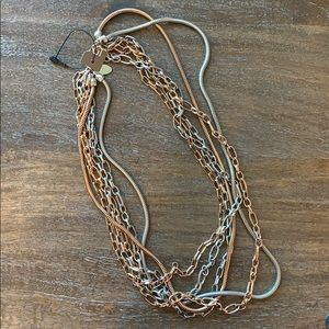 NWOT Chicos chain necklace matte silver rose gold
